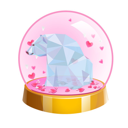 Romantic crystal ball with low poly bear and hearts isolated on white background. Vector illustration. Love in glass ball