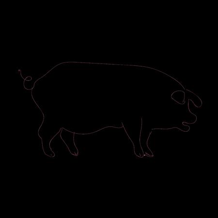 Contour black and pink pig. Simple piglet illustration