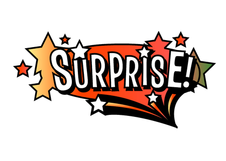 Bright vector SURPRISE speech bubble. Colorful emotional icon isolated on white background. Comic and cartoon style