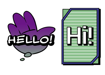 Vector Hello and Hi speech bubbles. Colorful emotional icons isolated on white background. Comic and cartoon style Иллюстрация