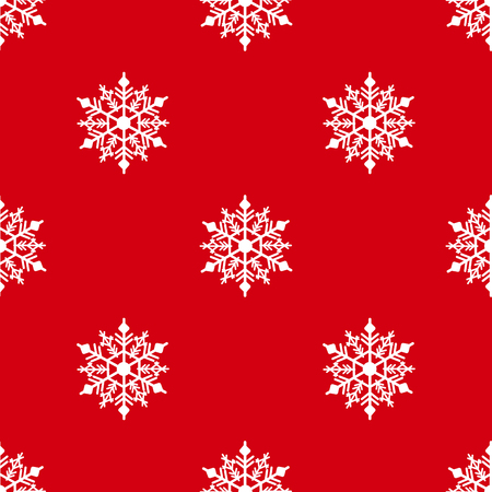 Winter seamless background with snowflakes for greeting card or invitation. Merry Christmas and Happy New Year design element. Bright red vector backdrop