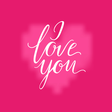 Pink heart and I LOVE YOU inscription background. Valentines Day romantic vector illustration. Cute element of design for flyers, invitations, cards Illustration