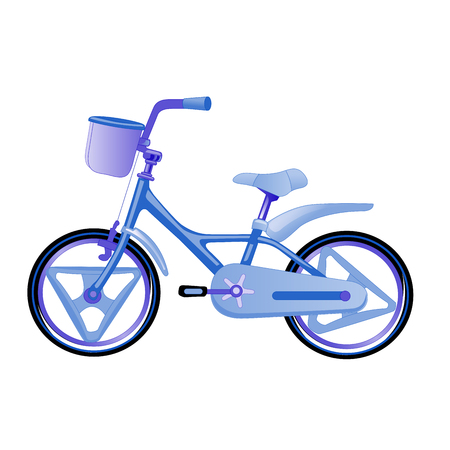 Vector illustration of blue children bike. Wheeled eco transport for kids. Simple flat style