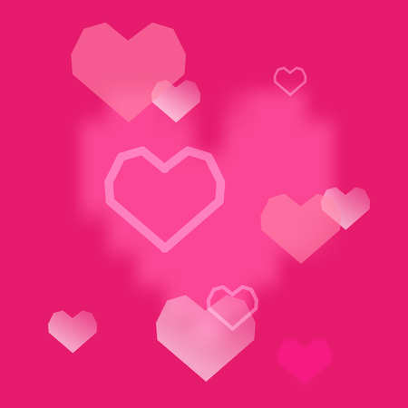 Pink hearts background. Valentines Day romantic vector illustration. Cute element of design for flyers, invitations, cards