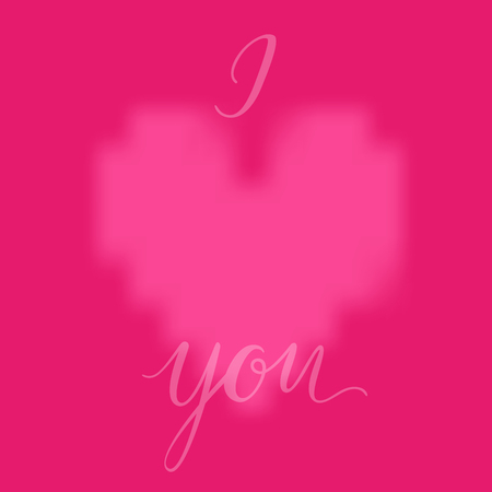 Pink heart and I LOVE YOU inscription background. Valentines Day romantic vector illustration. Cute element of design for flyers, invitations, cards Иллюстрация