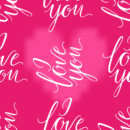Pink heart and I LOVE YOU inscription seamless background. Valentines Day romantic vector illustration. Cute element of design for flyers, invitations, cards Иллюстрация