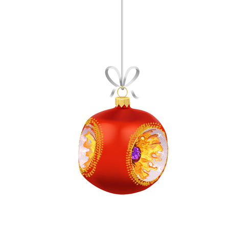 Christmas red glass ball with gold ornaments and ribbon isolated on white background. Traditional New Year tree decoration. Symbol of winter holidays
