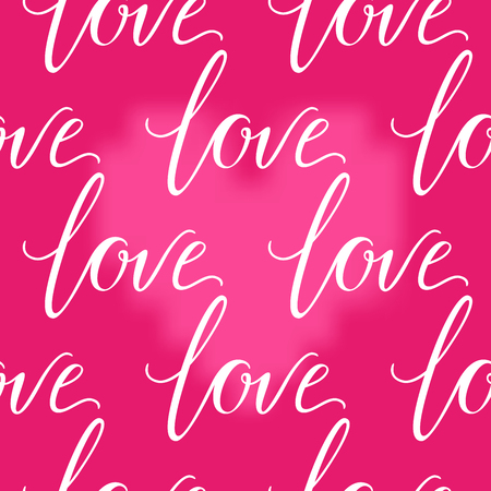 Pink heart and LOVE inscription seamless background. Valentines Day romantic vector illustration. Cute element of design for flyers, invitations, cards