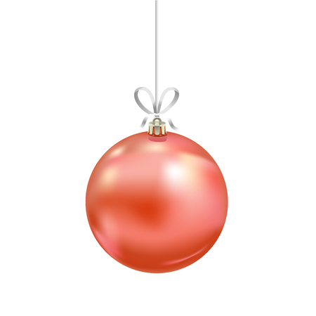 Christmas red glass ball with ribbon isolated on white background. Traditional New Year tree decoration. Symbol of winter holidays Иллюстрация