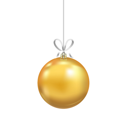 Christmas yellow glass ball with ribbon isolated on white background. Traditional New Year tree decoration. Symbol of winter holidays Иллюстрация