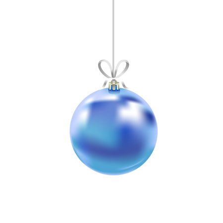 Christmas blue glass ball with ribbon isolated on white background. Traditional New Year tree decoration. Symbol of winter holidays