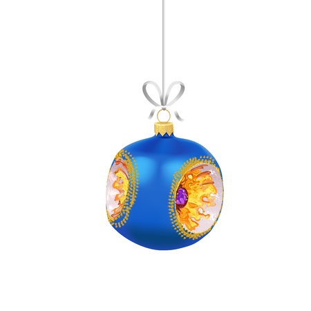Christmas blue glass ball with with gold ornaments and ribbon isolated on white background. Traditional New Year tree decoration. Symbol of winter holidays Ilustração