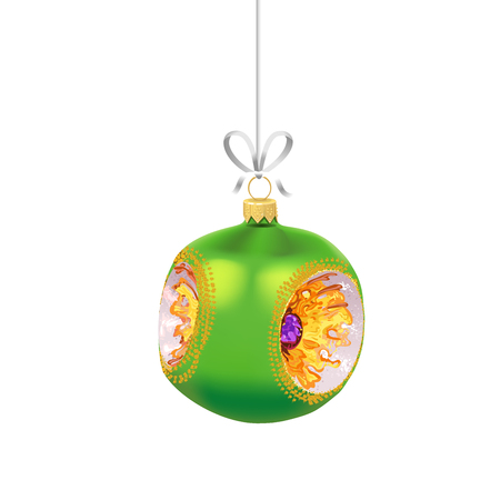 Christmas green glass ball with with gold ornaments and ribbon isolated on white background. Traditional New Year tree decoration. Symbol of winter holidays Иллюстрация