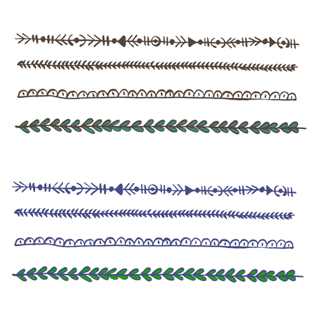 Plait and braids isolated on white background. Set of hand drawn laces. Vector design elements  イラスト・ベクター素材