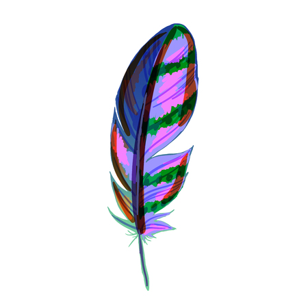 Beautiful colored feather isolated on white background. Vibrant bird plumage. Vector illustration Иллюстрация