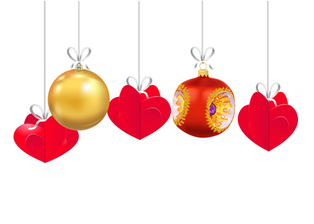 Set of Christmas and New Year decorations isolated on white background. Christmas tree toys on a strings. Vector illustration