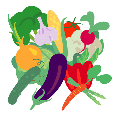 Vector illustration with hand drawn vegetables. Farm market products. Broccoli, cauliflower, cucumber, tomato, corn, eggplant, pepper, radishe and garlic. Simple vegetarian food drawing