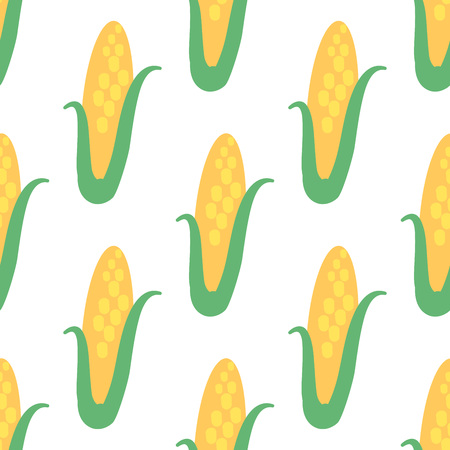 Vector seamless pattern with hand drawn vegetables. Farm market products. Corn. Simple vegetarian food drawing Иллюстрация