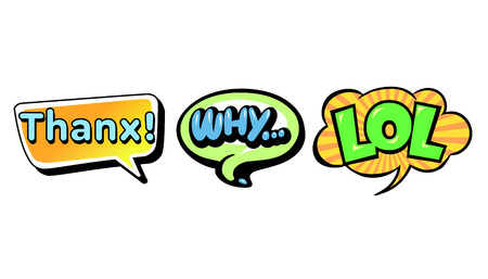 Set of bright vector speech bubbles. Colorful emotional icons isolated on white background. Comic and cartoon style  イラスト・ベクター素材