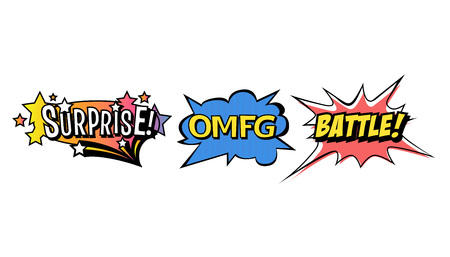 Set of bright vector speech bubbles. Colorful emotional icons isolated on white background. Comic and cartoon style Illusztráció