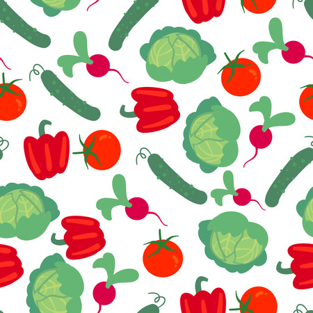 Vector seamless pattern with hand drawn vegetables. Farm market products. Cabbage, cucumber, radish, tomato, pepper. Simple vegetarian food drawing