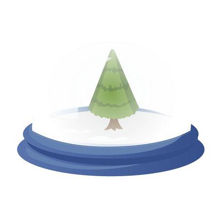 Decorative vector globe with cartoon christmas tree. Glass ball with evergreen fir tree isolated on white background Illusztráció
