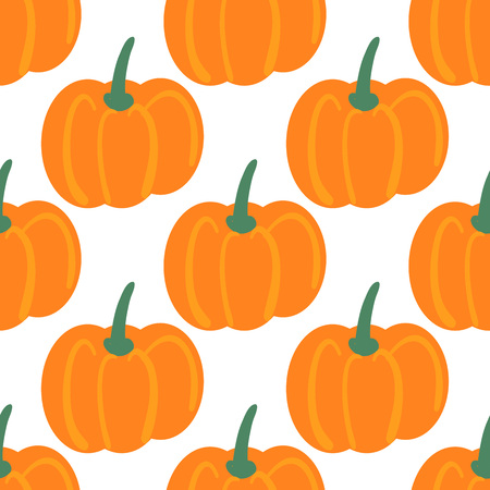 Vector seamless pattern with hand drawn pumpkins. Farm market products. Simple vegetarian food drawing