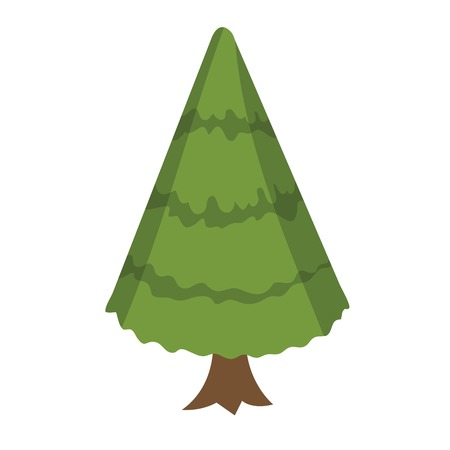 Christmas trees in a flat style. Firs isolation on a white background. Vector icons. Illusztráció