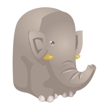 Funny cartoon elephant vector illustration. Elephant funny character isolated on white background Illusztráció