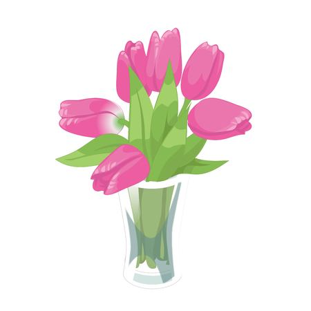 Pink tulips spring bouquet in the glass vase on the white background. Flower vector illustration Иллюстрация