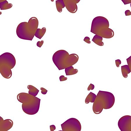 Abstract seamless pattern of hearts on white background. Vector illustration. Repeating texture