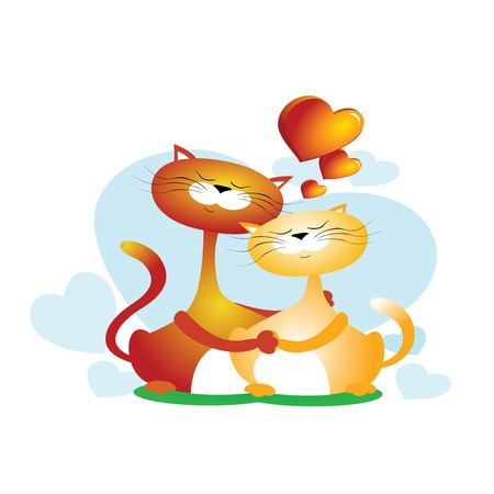 Vector retro styled illustration of a couple of cats. Hugging animals isolated on white background. Romantic collection Illusztráció