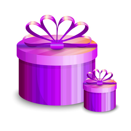 Two violet gift boxes, presents isolated on white background. Vector illustration. Collection for Birthday, Christmas