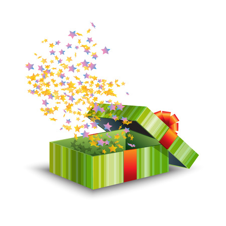 Opened green gift box with red bow and confetti isolated on white background. Collection for Birthday, Christmas. Vector illustration