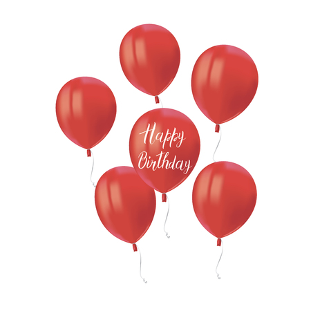 Composition of red air flying balloons isolated on white background. Inscription Happy Birthday. Festive decor element for Birthday party or balloon greeting card design element. Vector Illusztráció