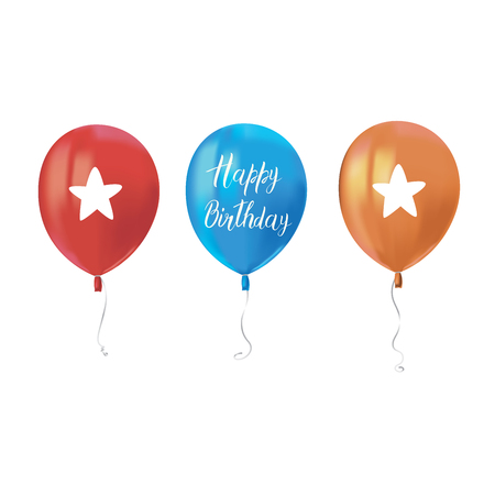 Three air flying balloons isolated on white background. Inscription Happy Birthday. Festive decor element for Birthday party or balloon greeting card design element. Vector Illusztráció