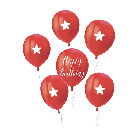 Composition of red air flying balloons isolated on white background. Inscription Happy Birthday. Festive decor element for Birthday party or balloon greeting card design element. Vector Иллюстрация
