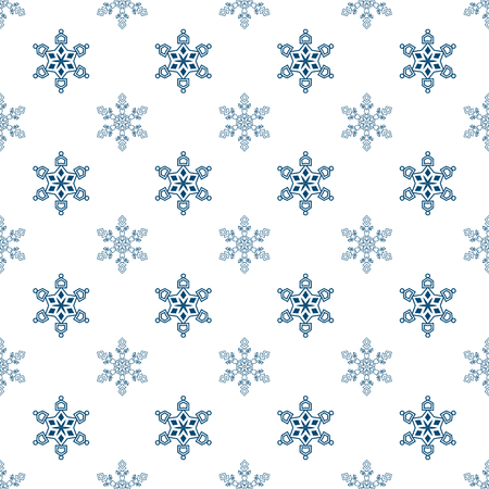Winter seamless background with snowflakes for greeting card or invitation. Merry Christmas and Happy New Year design element. Vector backdrop
