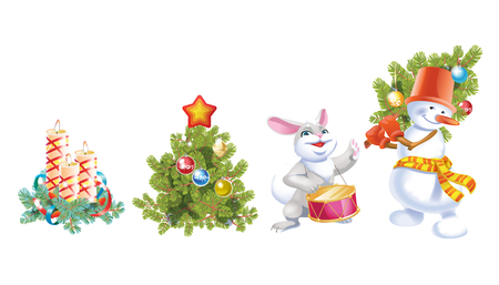 Christmas and New Year decoration set with pine tree, hare, snowman and candles. Festive vector elements for design or greeting cards