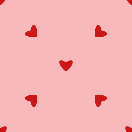 Vintage seamless heart pattern. Cute simple style hearts on a pink background. Romantic vector illustration