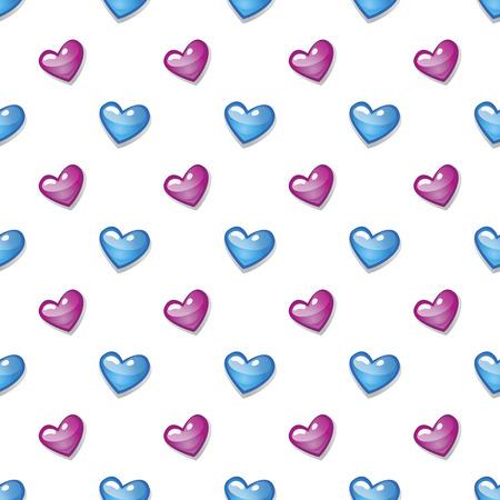 Vintage seamless heart pattern. Cute simple style hearts on a white background. Romantic vector illustration Illusztráció