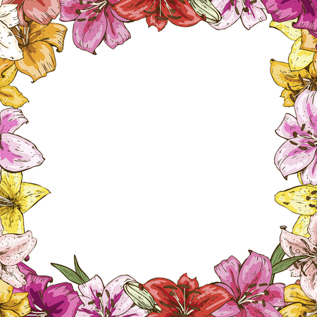 Frame of flowers. Beautiful frame of colorful lilies. Ready template for your design, vector illustration