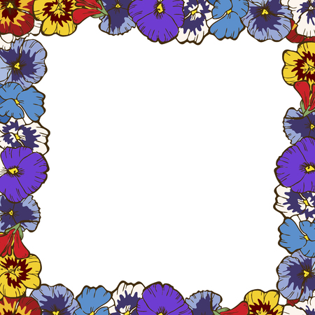 Frame of flowers. Beautiful frame of colorful pansies. Ready template for your design, vector illustration