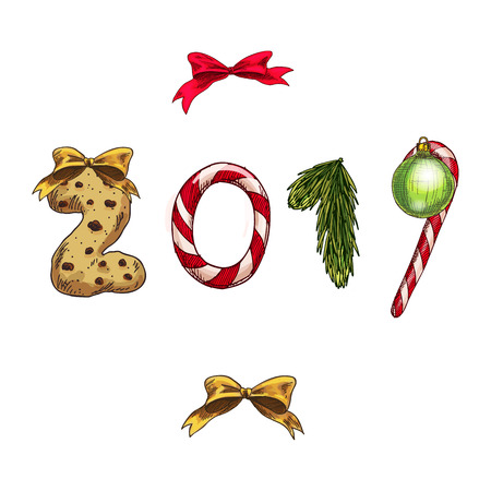 Set of Christmas and New Year decorations. Numbers 2019 made from decorative festive elements. Vector illustration