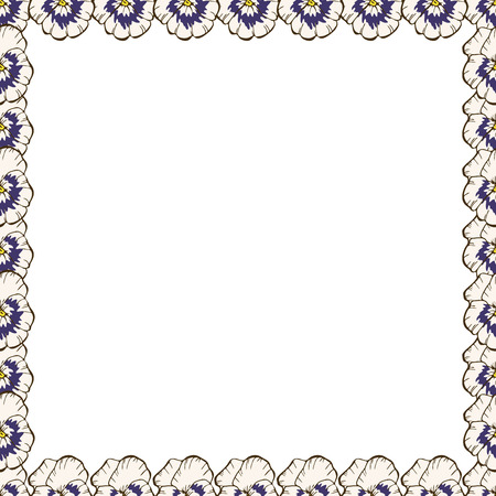 Frame of flowers. Beautiful frame of pansies. Ready template for your design, vector illustration