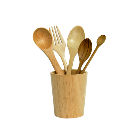 Spoon and fork wood in cup wood isolated or kitchen tool