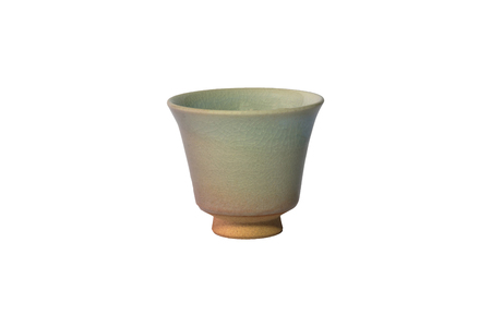 small cup or sake cup print pattern colour brown and white earthenware Reklamní fotografie