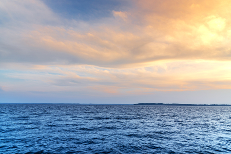 Relaxing seascape with beautiful sea and colourful sky background