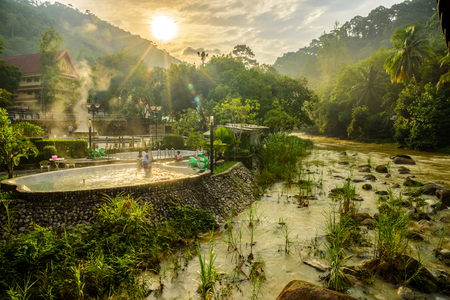 ranong hot spring area and stream from mountain in the morning Stock fotó