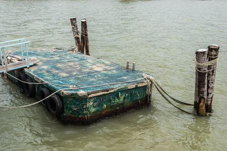 pontoon: thai pontoon in ranong river Stock Photo